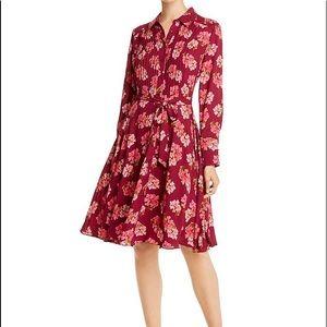 Nanette Lepore Floral Shirt Dress Sangria Pink